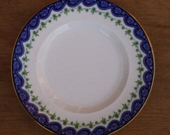 """Five Edwardian Royal Worcester 7"""" Blue Flow Bouillon tea plates (Rd No 429400)"""