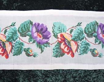 EXCELLENT Embroidered Table Runner Ukrainian Hand Embroidery Antique Embroidered Panel Dog Rose Old Ukrainian Tapestry Needlepoint Vintage
