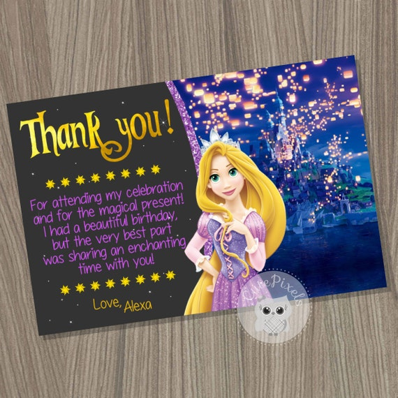 Rapunzel thank you card tangled thank you card tangled birthday il570xn bookmarktalkfo Image collections
