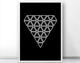 Black and white wall art print,  Geometric art, Abstract triangle print,  Digital download art, Instant download modern print, Printable art