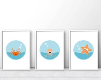 Under The Sea Printable Nursery Art Set, Sea Nursery Prints, Ocean Nursery Wall Art, Printable Kids Wall Art Set Of 3, Baby Wall Art Prints