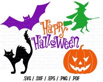 Happy Halloween Clipart, Halloween SVG File, Witch, Bat, Pumpkin SVG, Vinyl Cutters, Screen Printing, Silhouette, Die Cut Machine - CA341