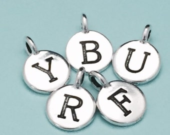 Add a charm, initial charm, pewter charm