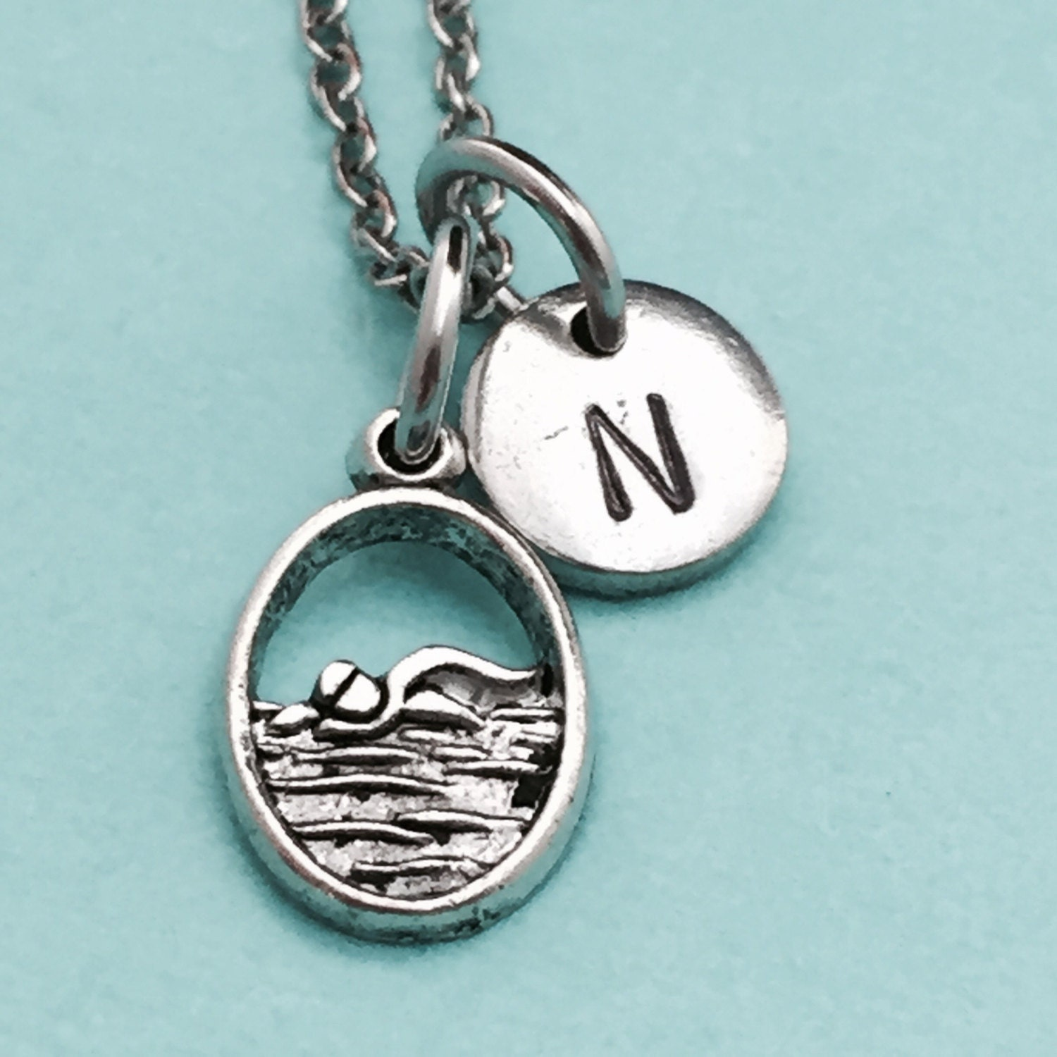 swimmer jewelry swimmer necklace swimmer charm sports necklace personalized 2985
