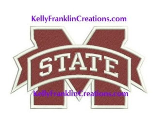 Mississippi State Embroidery 9 SIZES!!