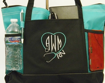Personalized Stethoscope Medical Tote Embroidered with Your Monogram 6 Different Colors Great Gift or For Yourself