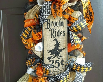 Halloween Swag, Witch Swag, Witch's Broom Swag, Happy Halloween Swag, Halloween Door Hanging, Halloween Decor, Witch Decor, Broom Ride Swag