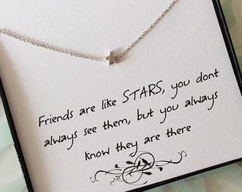 Star Necklace with message card, Friendship Necklace, Jewelry gift for Sister, Thank you jewelry, best friend gift