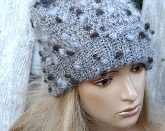 Knit Hat Womens Grey Hat Slouchy Beanie,Crochet Hat, Slouchy Hat in Grey Knit Hat, Womens Accessories Winter Hat