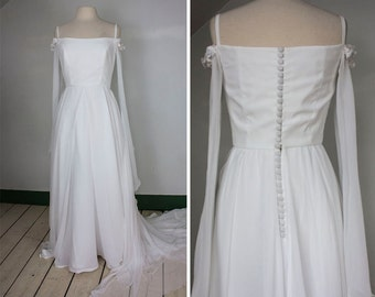 Sheer Romance White Wedding Dress | 1970s | Women's S/M