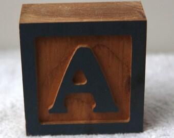 Wooden Monogram Letter Initial Block Decoration