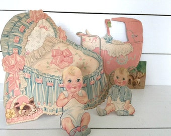 Vintage 1940s Baby Sisters paper doll set  -Baby Sue  22 piece set