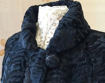 Price reduced:  1940s vintage swing jacket  astrakhan fur coat.