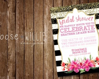 Bridal Shower Invitations - Black, White and Gold