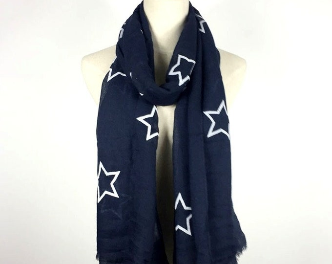 Navy Blue Stars Scarf Blue Stars Scarf Cotton Scarf Stars Scarves Soft Scarf Fashion Scarf Gift For Her Women Fashion Accessories Teen Scarf