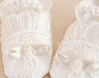 Caroline Lace Booties, Christening Booties