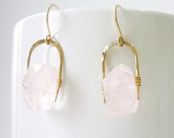 Rose Quartz Nugget Gold Filled Earrings