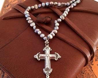 Vintage Italian Silver Cross on a Dove Grey Freshwater Pearl Necklace, c. 1970's