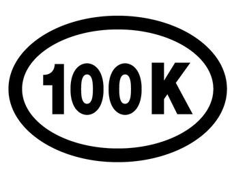 100K Ultra Runner Oval Decal Vinyl or Magnet Bumper Sticker