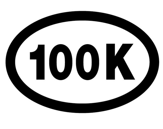100K Ultra Runner Oval Decal Vinyl or Magnet Bumper Sticker