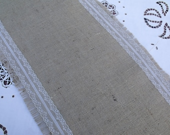 Hessian Table Runner with Vintage Style White Lace 2.5m