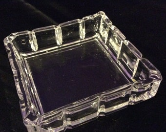 Square Glass Deco Style Ashtray