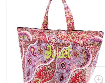 Monogram Pink Paisley Quilted Cotton Insulated Tote/Cooler bag