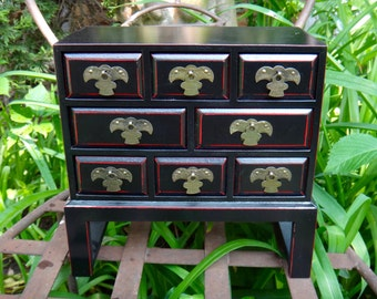 Jewelry Box, Asian Decor, Chest of Drawers, Jewelry Chest, Masculine, Keepsake Box, Mens, Dude Find, Man Cave, Red Black, Dresser Decor