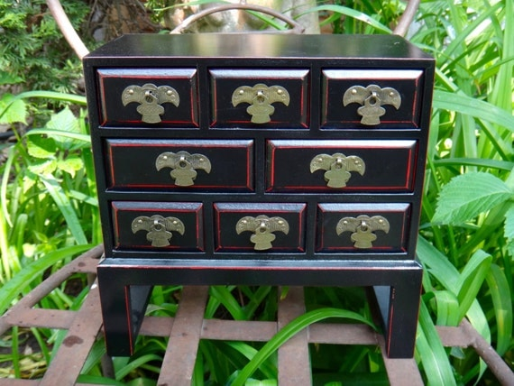 Jewelry box asian decor chest of drawers jewelry by - Decorating a chest of drawers ...