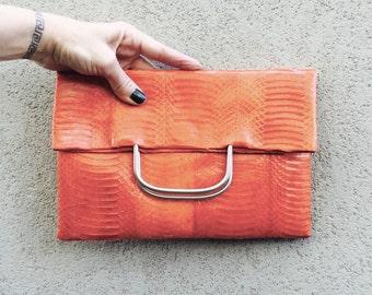 Python Clutch, Snake Clutch, Python Bag, Pythonskin Clutch, Evening Clutch called Angelina in Burnt Orange
