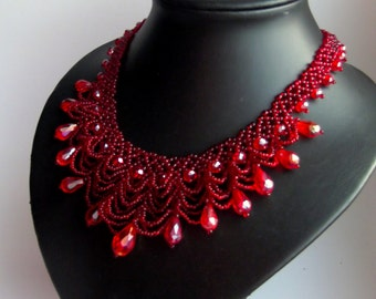 Red Necklace, Seed Bead Jewelry, Beadweaving , Beadwork Necklace,crystal necklace