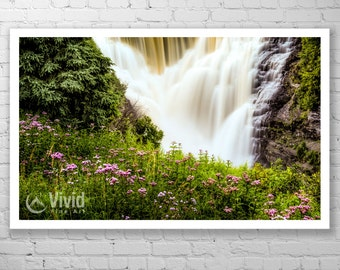 Waterfall wall art, flower photography, pink wildflowers, framed waterfall print, art prints matted, framed fine art photography, office art