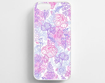 Floral Pattern Pink Purple. iPhone 4/4s, iPhone 5/5s, iPhone 5c, iPhone 6, iPhone 6 Plus Case Cover 073