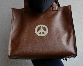 Brown Pleather Tote, Brown Peace Bag, Pleather Tote with Peace, Pleather Handbag, Peace Bag, Peace Pleather Bag, Shopping Tote, Brown Bag