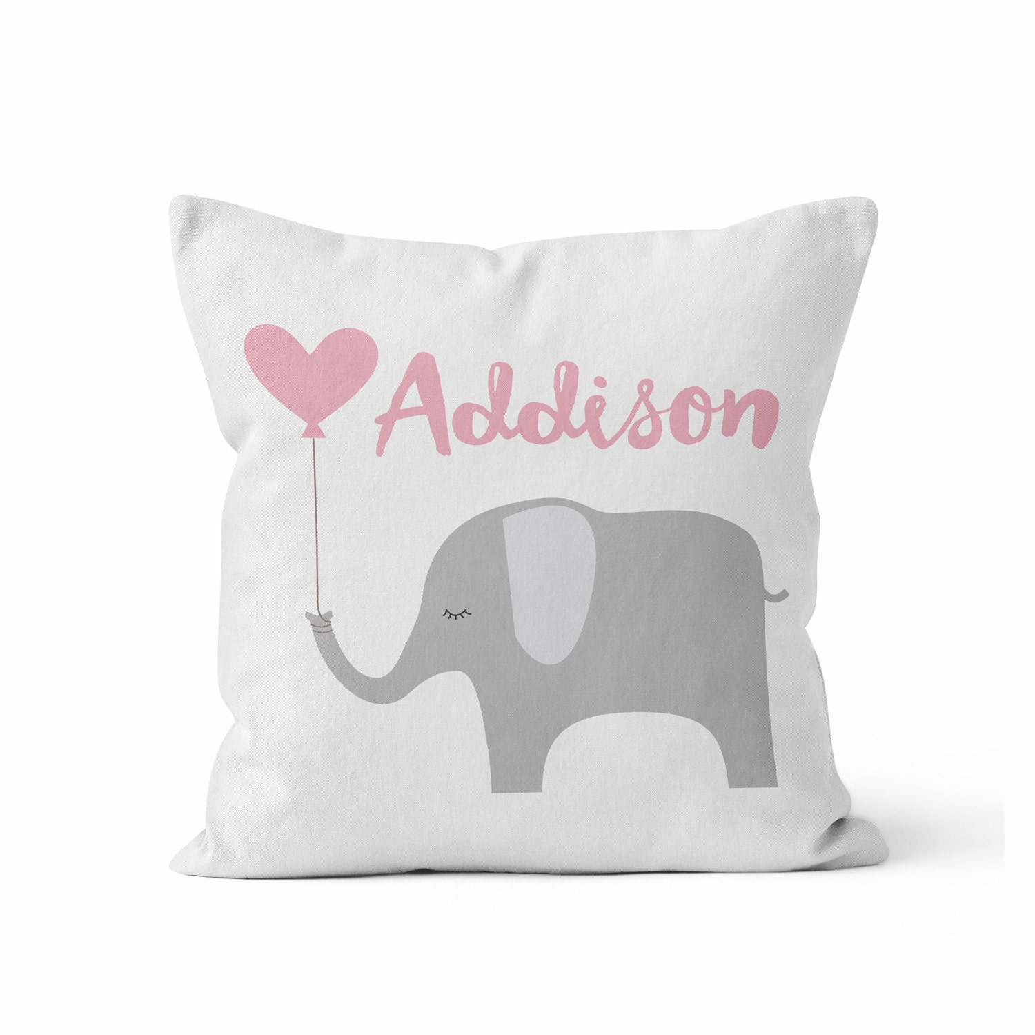 Custom Baby Girl Name Throw Pillow/ Pink Grey/ Elephant/