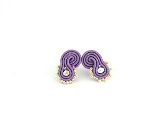 Purple stud earrings, silvered earrings, boho stud earrings,purple small earrings, beaded earrings, soutache earrings, gift earrings