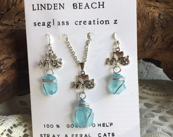 Powder blue seaglass pendant and earring set