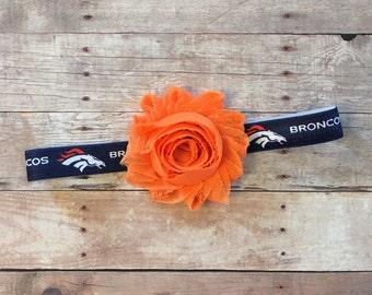 Denver Broncos Headband, Baby Headband, Toddler Headband, Football Headband, Broncos Headband, Shabby Headband, Baby Football Headband