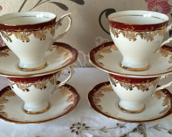 Set of Four, Royal Standard, Fine Bone China, Coffee/ Demitasse Cups and Saucers, Pattern no. 2949