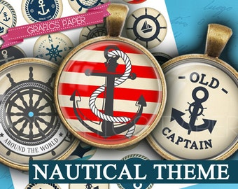 "Nautical theme, anchors, rudders, sea, sailing - download digital collage sheet - td180  1.5"", 1.25"", 30mm, 1 inch - Circle Bottle cap image"