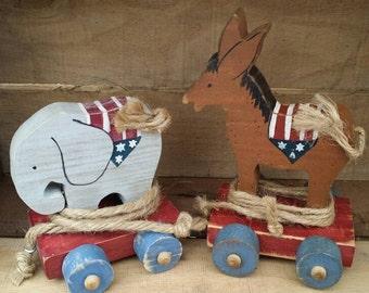 Political Primitive Donkey & Elephant Pull Toy