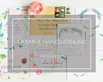 Calligraphy Creative Hand Lettering Kit, Hand Lettering Workbook, Calligraphy Workbook, gift for bridesmaid, gift for bride, gift for her