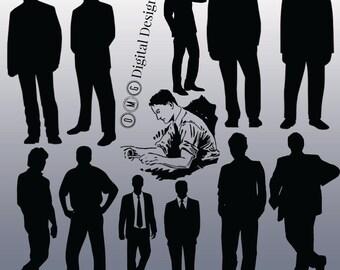 12 Man Silhouette Digital Clipart Images, Clipart Design Elements, Instant Download, Black Silhouette Clip art
