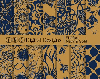 Navy Floral Digital Paper: Floral Digital Paper, Gold Floral Paper, Navy and Gold Digital Paper, Navy Scrapbook Paper, Instant Download