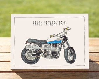 "Motorcycle Father's Day Card - Triumph Scrambler | A6 Measures: 6"" x 4"" / 103mm x 147mm 