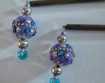 Purple and Blue Beaded Hair Stick Jewelry