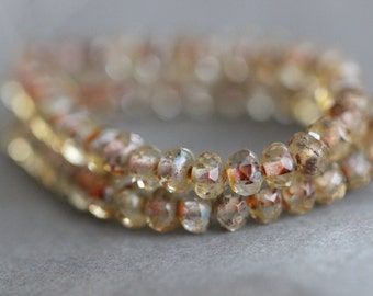 ON SALE 3x5mm, Rondelles, Champagne, Topaz, Picasso, Czech, 3 x 5, Glass, Beads, Faceted, Beads, 30 pieces, Full Strand