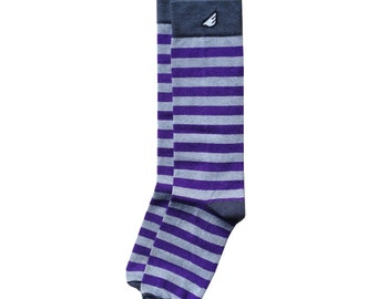 "Purple & Light Grey Stripe Men's Dress / Casual Socks - Fun Crazy Unique Colorful - ""Jailbird"" Christmas Holiday Gift Stocking Stuffer"