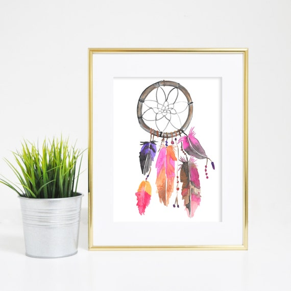 Watercolor Dream Catcher, Best Selling Item, Watercolor Print, Dream Catcher Art, Dreamcatcher Print, Dream Catcher Art Print, Office Decor