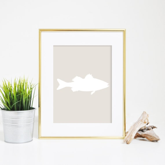 Fish Print, Sea Bass Wall Art, Fish Art, Digital Prints, Ocean Printables, Ocean Art, Beige Fish Print, Beach Decor, Nautical Print
